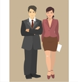 Young businessman and business woman standing next vector image vector image