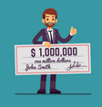 young happy man holding money prize check for one vector image vector image