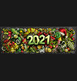 2021 doodles horizontal new year vector image