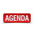 Agenda red three-dimensional square button