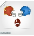 American Football game helmets and ball teams vector image