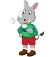 angry rhino cartoon vector image