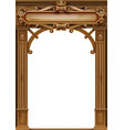 antique wooden arch with door carvings vector image vector image