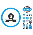 Banking Award Flat Icon with Bonus vector image vector image