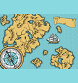 banner with old nautical map vector image vector image