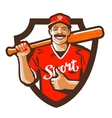 baseball player logo championship vector image vector image