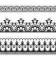 border pattern line lace elements with flowers in vector image vector image