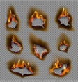 burning paper holes realistic fire flames vector image