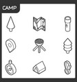 camp outline isometric icons vector image vector image