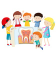 Children with tooth diagram vector image vector image