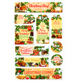 christmas dinner tag and label with festive dish vector image vector image