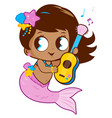 cute mermaid playing music with her guitar vector image vector image