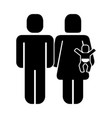 family figure with baby silhouette icon vector image vector image