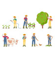 farmer people with pig and cow vector image vector image