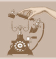 female hand man with retro phone vector image vector image