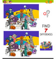 find differences game with halloween characters vector image vector image