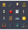 Flat law icons set vector image vector image