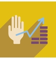 Flat web icon with long shadow hand graph vector image vector image