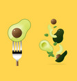 fresh avocado on fork with flying avocados vector image