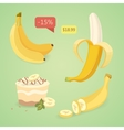 Fresh banana fruits collection of vector image