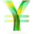 Green abstract Yen sign vector image vector image