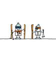 hand drawn characters - ready to ski vector image vector image