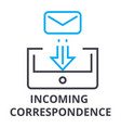 incoming correspondence thin line icon sign vector image vector image