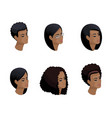 isometric icons of head hairstyles 3d emotions vector image