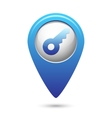 Key icon on blue map pointer vector image vector image