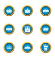 king head icons set flat style vector image