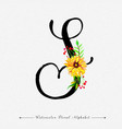 letter s watercolor floral background vector image vector image