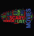 list of scary movies text background word cloud vector image vector image