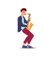 man blowing in saxophone isolated music player vector image