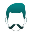 man with beard head faceless in blue lines vector image vector image