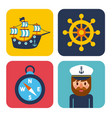 nautical design elements sailor captain wheel boat vector image