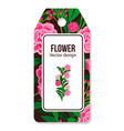 peony pattern tag for flower shop vector image vector image