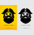 pirate head face wearing hat and eye patch vector image vector image