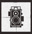 retro camera card design silhouette vintage vector image
