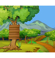 Scene with wooden signs in the jungle vector image