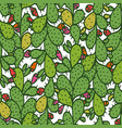 seamless pattern with green prickly pear cactus vector image vector image