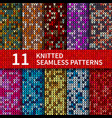 seamless patterns with knitted sweater texture vector image vector image