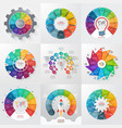 set 9 circle infographic templates with 11 vector image vector image