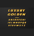 set elegant gold colored metal chrome alphabet vector image
