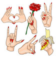 set woman hands with red nails vector image