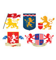 simple heraldic lion set vector image vector image