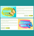spring sale poster discount color butterflies web vector image vector image