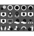 Tools gears smiles map markers icons vector image