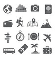 travel and tourism icon set on white background vector image vector image
