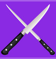 two kitchen knives cross on a colored background vector image