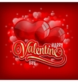 Valentines day greeting with red heart baloons and